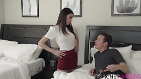 Locate hungry MILF stepmom helps a young man out and fucks him good