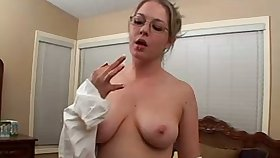 Surprising nerdy bitch exposes her big boobies and masturbates herself