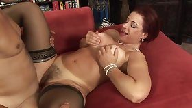 Hot Redhead Hairy Milf Big Bowels Fucked Coupled with Creampied