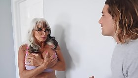 Videotape of horny granny Sally D'angelo with massive juggs having sex