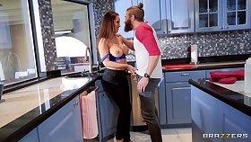 Cheating boyfriend fucks gf's best side Isis Love in burnish apply kitchen