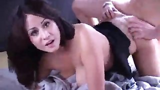 Hot brunette with big booty gets nailing in the van