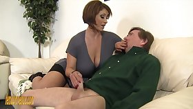 Mega busty mistress Kyle Stone gives serving-woman job added to boobs job to her submissive