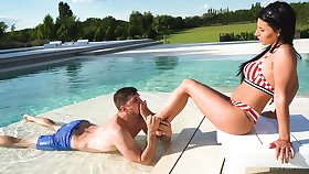 Attractive bikini hottie Nelly Kent is analfucked doggy style by the pool