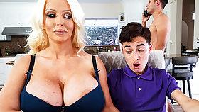 Domineer stepmom interested to taste schoolboy's dick