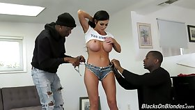 Duo insatiable black dudes fuck fake tittied white-headed whore Melissa Lynn
