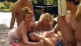 Steamy open-air orgy with Sharon Woods and succeed marketable stunners