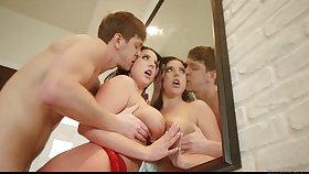 Handsome shady in sexy red lingerie Angela White is fucked overwrought new lover