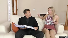 A several day sex starved stepdaughter fucks her stepdad like a champ