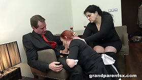 Dirty threesome approximately mature tiro and a glamorous redhead