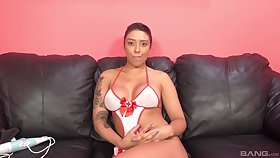 Professional escort Lucia Lace loves to finger gumshoe between the brush boobs