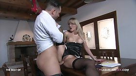 Blonde matured fucks on a table with her own step young gentleman