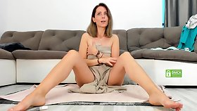 Hot sporty full-grown getting changed on webcam