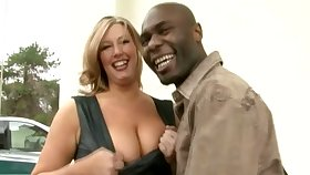 Big racked MILFie lady lets black stud mug her wet pussy well